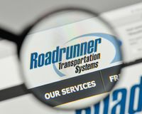 Milan, Italy - November 1, 2017: Roadrunner Transportation Systems logo on the website homepage. royalty free stock images
