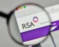 Milan, Italy - November 1, 2017: RSA Insurance Group logo on the. Website homepage Stock Photos
