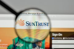 Milan, Italy - November 1, 2017: Sun Trust Banks logo on the web. Site homepage Royalty Free Stock Photos