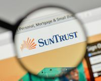 Milan, Italy - November 1, 2017: Sun Trust Banks logo on the web. Site homepage Royalty Free Stock Photography