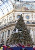 Swarovski Christmas tree. Milan, Italy - November 26, 2017: Swarovski Christmas tree in Galleria Vittorio Emanuele II shopping arcade in Milan Stock Photo