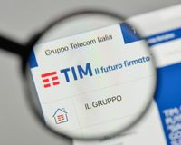 Milan, Italy - November 1, 2017: Telecom Italia logo on the webs. Ite homepage Royalty Free Stock Photo