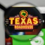Milan, Italy - November 1, 2017: Texas Roadhouse logo on the web. Site homepage royalty free stock photo