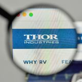 Milan, Italy - November 1, 2017: Thor Industries logo on the web. Site homepage Stock Photography