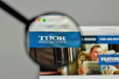 Milan, Italy - November 1, 2017: Thor Industries logo on the web. Site homepage Stock Images
