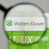 Milan, Italy - November 1, 2017: Wolters Kluwer NV logo on the w. Ebsite homepage Stock Photo