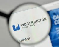 Milan, Italy - November 1, 2017: Worthington Industries logo on. The website homepage Royalty Free Stock Photo