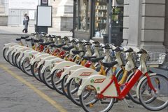 Milan, Italy - Bicycle Rental Station. MILAN, ITALY - OCTOBER 03: Close to the squere ``Piazza del Duomo``, the central squere of Milan, you can find well Royalty Free Stock Photography