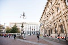 La Scala square with Monument to Leonardo da Vinci, City Hall P. Milan, Italy - October 24, 2017: La Scala square with Monument to Leonardo da Vinci, City Hall Stock Photo