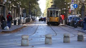 Old tram. MILAN, ITALY - OCTOBER 2017; Old tram, historic public transport, in Sempione Gate area stock video