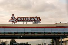 Milan, Italy - October 15th, 2015:Autogrill above an autobahn royalty free stock photo