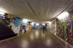 Milan, Italy - October 19th, 2015:Graffiti in a subway underpass Milan. In Italy Stock Photos