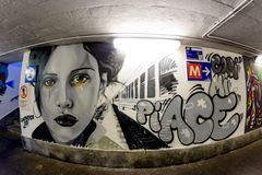 Milan, Italy - October 19th, 2015:Graffiti in a subway underpass Milan. In Italy Royalty Free Stock Photo