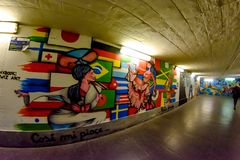 Milan, Italy - October 19th, 2015:Graffiti in a subway underpass Milan. In Italy Stock Photo