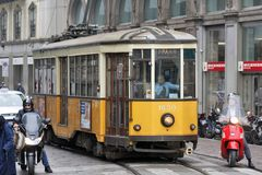 Milan, Italy - City Tram. MILAN, ITALY - OCTOBER 03: Trough the center of the city passes almost historic trams in Milan, Italy on October 03, 2017 Royalty Free Stock Images