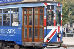 Milan, Italy - City Tram. MILAN, ITALY - OCTOBER 03: Trough the center of the city passes almost historic trams, sometimes with a important promotion in Milan Royalty Free Stock Images