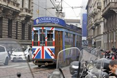 Milan, Italy - City Tram. MILAN, ITALY - OCTOBER 03: Trough the center of the city passes almost historic trams, sometimes with a important promotion in Milan Stock Photo