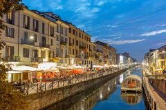 View of the crowded Naviglio Grande district in Milan. Milan, Italy - October 2, 2017: View of the crowded Naviglio Grande district in Milan Stock Photos