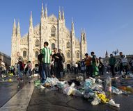 MILAN, Italy: 25 October 2018: Wastes in Duomo square, Milan, Lombardy. Supporter Betis Siviglia dirty Duomo square of waste before Europa league match against stock photography