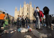 MILAN, Italy: 25 October 2018: Wastes in Duomo square, Milan, Lombardy. Supporter Betis Siviglia dirty Duomo square of waste before Europa league match against stock images