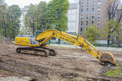 MILAN, ITALY-OCTOBRE 18, 2015: Construction machinery on building site of new subway line in Milan. Royalty Free Stock Photos