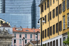 Milan (Italy), old and modern buildings stock photography