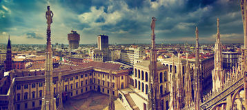 Milan, Italy panorama. View from Milan Cathedral. Royal Palace of Milan - Palazzo Realle and Velasca Tower in the background Royalty Free Stock Photos