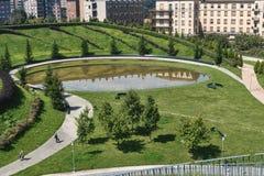 Milan Italy: parkera på Portello Royaltyfria Foton