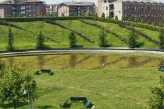 Milan Italy: parkera på Portello Arkivfoto