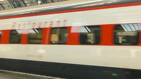 Passenger train in motion. 18.06.2016 - Milan, Italy Passenger train in motion Modern rail transport stock footage