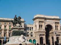 MILAN-ITALY-03 12 2014, Piazza del Duomo, statue of Vittorio Ema Royalty Free Stock Images