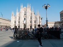 MILAN-ITALY-03 12 2014, Piazza del Duomo on a sunny winter day w Royalty Free Stock Photo