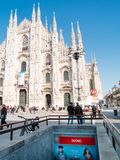 MILAN-ITALY-03 12 2014, Piazza del Duomo on a sunny winter day w Royalty Free Stock Photography