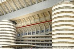 Milan, Italy, San Siro football stadium. Details of San Siro Meazza football soccer stadium in Milan , Italy, home of Milan and Inter football teams royalty free stock photos