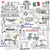 Milan Italy-schetselementen Hand getrokken reeks met Duomo-kathedraal, vlag, kaart, schoen, manierpunten, pizza, het winkelen str vector illustratie