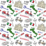 Milan Italy seamless pattern with Hand drawn sketch elements Duomo cathedral, flag, map, pizza, transport and traditional food. Dr Royalty Free Stock Photos