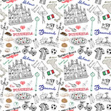 Milan Italy seamless pattern with Hand drawn sketch elements Duomo cathedral, flag, map, pizza, transport and traditional food.  Royalty Free Stock Image