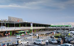 Entrance to Milan Linate, which services short and medium-range destinations in Europe and is Alitalia`s hub. Milan, Italy - Sept 17, 2017: Entrance to Milan Royalty Free Stock Photos