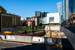 MILAN, ITALY - SEPTEMBER 19,2017: Construction site of new skyscraper Unipol Headquarter designed by MCA Mario Cucinella Architect Royalty Free Stock Photography
