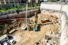 MILAN, ITALY - SEPTEMBER 19,2017: Construction site of new skyscraper Unipol Headquarter designed by MCA Mario Cucinella Architect. S at Porta Garibaldi district Royalty Free Stock Images