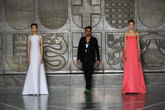 MILAN, ITALY - SEPTEMBER 20: Designer Alessandro De Benedetti walks the runway after the Mila Schon show Stock Images