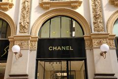 MILAN, ITALY - SEPTEMBER 10, 2018: Facade of Chanel store inside. Galleria Vittorio Emanuele II the world`s oldest shopping mall, Milan, Italy stock photo