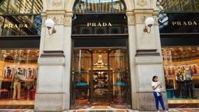 MILAN, ITALY - SEPTEMBER 7, 2017: Facade of Prada boutique inside Galleria Vittorio Emanuele II gallery, the world`s oldest. Shopping mall, Milan, Italy Stock Photography