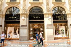 MILAN, ITALY - SEPTEMBER 10, 2018: Facade of Prada store inside royalty free stock images
