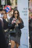 Fashionable girls at Milano Fashion Week Royalty Free Stock Image
