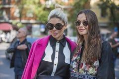 Fashionable girls at Milano Fashion Week Royalty Free Stock Photos