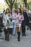 Fashionable girls at Milano Fashion Week Stock Photos