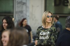 Fashionable girls at Milano Fashion Week Stock Image