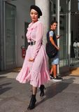 MILAN, Italy: September 22, 2018:Fashionable woman streetstyle outfit. Fashionable woman streetstyle outfit after Philosophy di Lorenzo Serafini fashion show royalty free stock image
