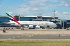 The largest passenger airplane - Airbus A380-861 A6-EEN from Emirates Airline on the Malpensa airport Royalty Free Stock Photography